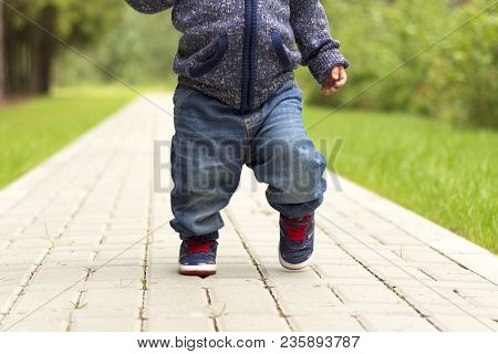 Baby's First Steps.the First Independent Steps. Running Toddler In The Park