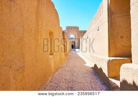 The Walk Along The Narrow Street Of Adobe Arg-e Rayen - Medieval Deserted Fortress In Kerman Provinc