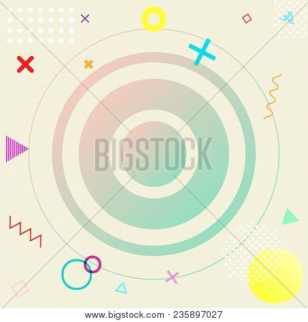 Neo Memphis Pattern Background In Trendy Bright And Pastel Colors For Design Cover, Stock Vector Ill
