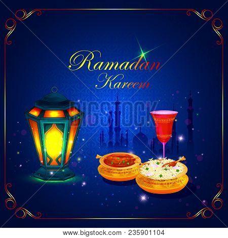 Vector Illustration Of Ramadan Kareem Greetings For Ramadan Background With Iftar Food And Drink