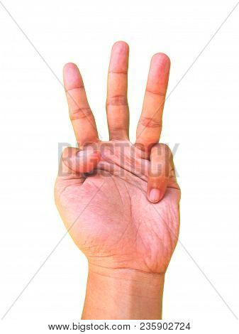 Hand Sign For The Number Three Or 3 Symbol