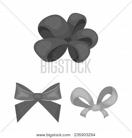Multicolored Bows Monochrome Icons In Set Collection For Design.bow For Decoration Vector Symbol Sto