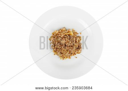Buckwheat With Onions And Mushrooms Fried, Baked, Cooked Portion Of Side Dish On A Plate On White Is