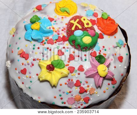 The Top Of Easter Cake Decorated With Confection-ery Elements