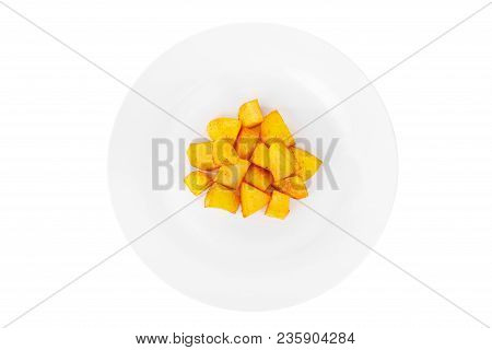 Potatoes Diced Fried, Baked With Spices, Side Dish On A Plate On White Isolated Background View From