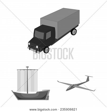 Different Types Of Transport Monochrome Icons In Set Collection For Design. Car And Ship Vector Symb