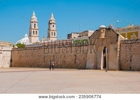 San Francisco De Campeche, Mexico: The Sea Gate Or Bastion Of The Puerta Del Mar. Cathedral In Campe