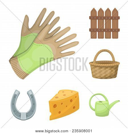 Farm And Gardening Cartoon Icons In Set Collection For Design. Farm And Equipment Vector Symbol Stoc