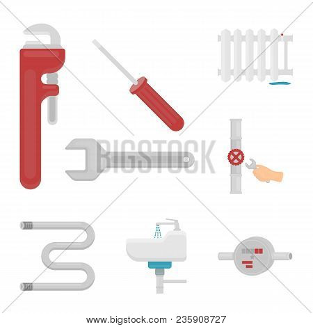 Plumbing, Fitting Cartoon Icons In Set Collection For Design. Equipment And Tools Vector Symbol Stoc