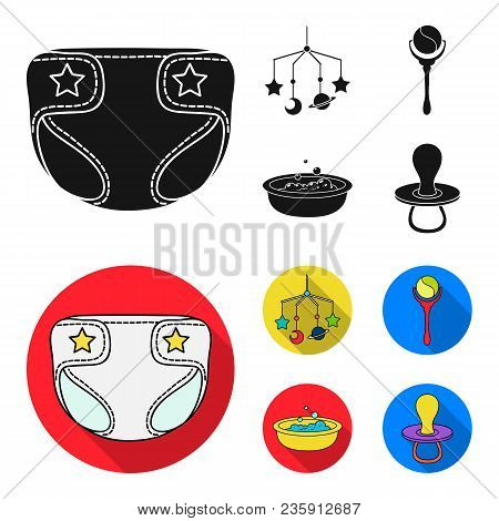 Children Diapers, A Toy Over The Crib, A Rattle, A Children Bath.baby Born Set Collection Icons In B