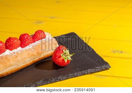Strawberry Cake. Bright Vivid Color Vibrant Summer Food Image. Long Donut Frsh Fruit Dessert Resente