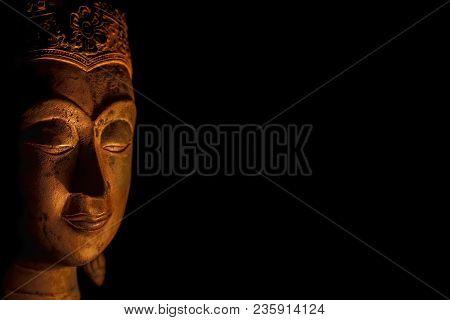 Zen Buddhism. Spiritual Enlightenment Of Serene Buddha Head In Meditation. Mindfulness And Spiritual