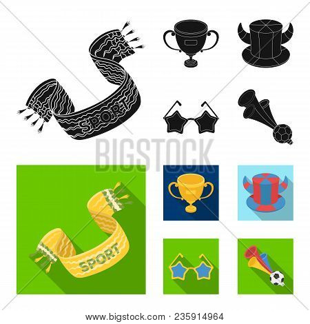 A Scarf, A Hat With Horns And Other Attributes Of The Fans.fans Set Collection Icons In Black, Flat