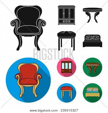 Furniture, Interior, Design, Chair .furniture And Home Interiorset Collection Icons In Black, Flat S