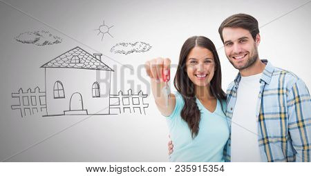 Couple Holding key with home drawing in front of vignette