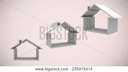 3D houses in front of vignette