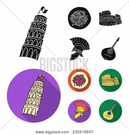 Pisa Tower, Pasta, Coliseum, Legionnaire Helmet.italy Country Set Collection Icons In Black, Flat St