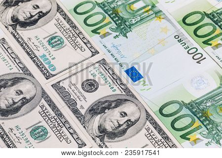 American One Hundred Dollar Bills. Euro Banknotes.