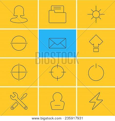 Illustration Of 12 Ui Icons Line Style. Editable Set Of Screenshot, Lightning, Woman Member And Othe