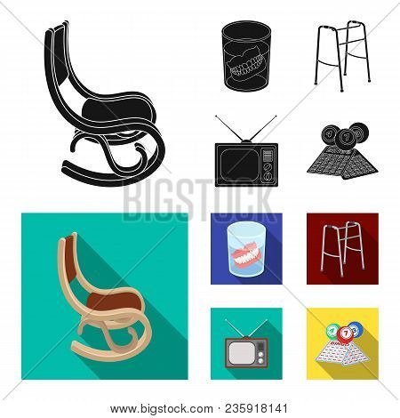 Denture, Rocking Chair, Walker, Old Tv.old Age Set Collection Icons In Black, Flat Style Vector Symb