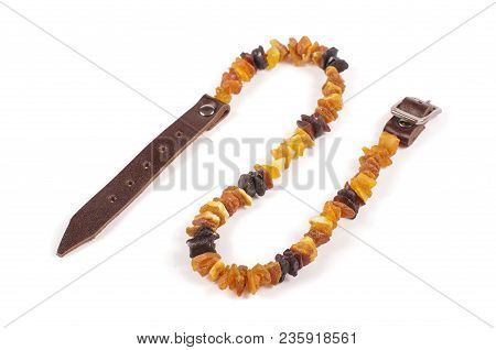 Dog Collar Of Amber Isolated On The White
