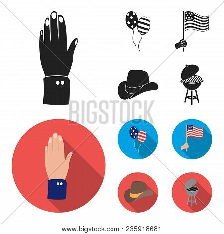 Balloons, National Flag, Cowboy Hat, Palm Hand.patriot Day Set Collection Icons In Black, Flat Style