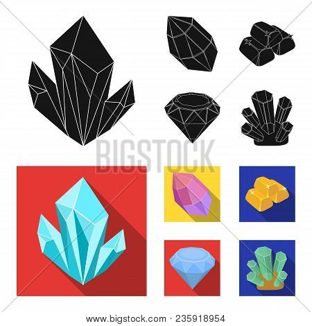 Crystals, Minerals, Gold Bars. Precious Minerals And Jeweler Set Collection Icons In Black, Flat Sty