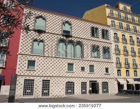 Casa Dos Bicos (house Of Spikes) First Built In 1523 With Its Walls Made Of Diamond Shaped Tiles. It