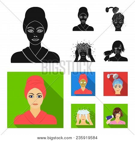 Hands, Hygiene, Cosmetology And Other  Icon In Black, Flat Style.bath, Clothes, Means Icons In Set C