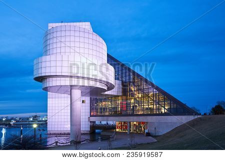 Cleveland, Ohio/usa - March 5th 2018: The Rock And Roll Hall Of Fame Lit Up At Night.