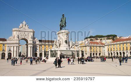 Lisbon, Portugal - February 20: Terreiro Do Paco, Also Known As Praca Do Comercio, On February 20, 2