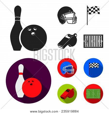 Bowl And Bowling Pin For Bowling, Protective Helmet For Playing Baseball, Checkbox, Referee, Whistle