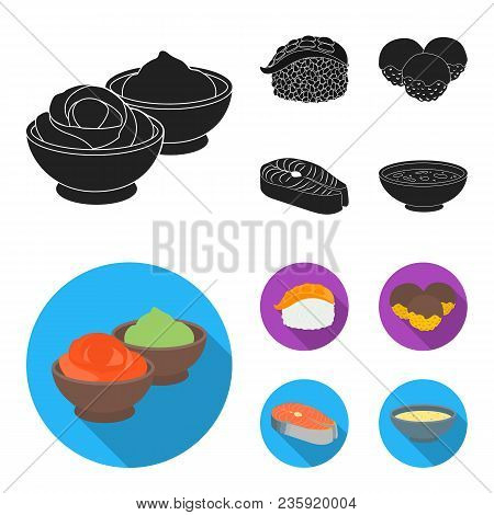 Wasabi Sauce And Ginger, Salmon Steak, Octopus. Sushi Set Collection Icons In Black, Flat Style Vect