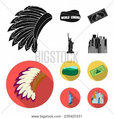 Mohavk, World Cinema, Dollar, A Statue Of Liberty.usa Country Set Collection Icons In Black, Flat St