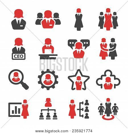 Businesswoman And Leader Icon Set Vector And Illustration