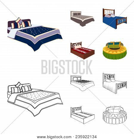 Different Beds Cartoon, Outline Icons In Set Collection For Design. Furniture For Sleeping Vector Is