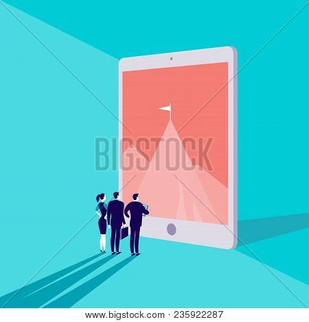 Vector Business Concept Illustration With Business People Watching On Mountain Peak On Big Tablet Sc