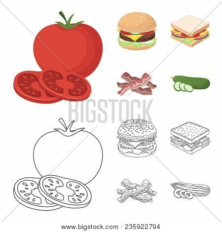 Burger And Ingredients Cartoon, Outline Icons In Set Collection For Design. Burger Cooking Vector Sy