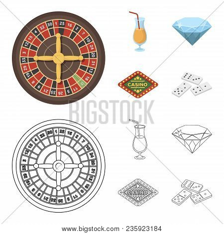 Roulette, A Glass With A Drink, A Diamond, A Sign Casino And Gambling Set Collection Icons In Cartoo