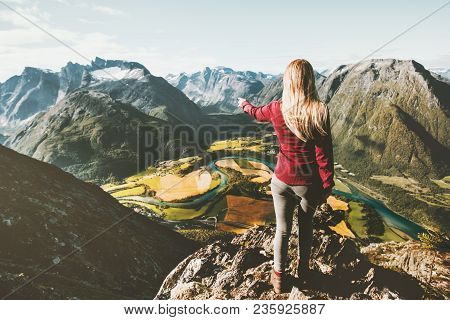 Woman Tourist Alone Standing On Cliff Aerial Mountains Valley Landscape Traveling Adventure Lifestyl
