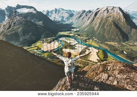 Happy Traveler Man Raised Arms Standing On Cliff Over Mountains Valley Landscape Travel Healthy Life