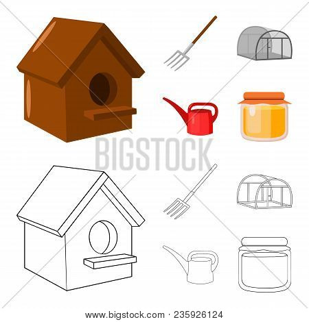 Poultry House, Pitchfork, Greenhouse, Watering Can.farm Set Collection Icons In Cartoon, Outline Sty