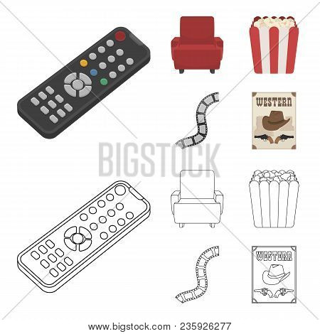 Control Panel, An Armchair For Viewing, Popcorn.films And Movies Set Collection Icons In Cartoon, Ou