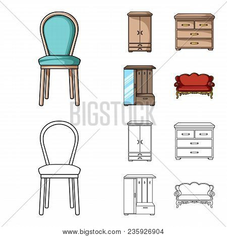 Armchair, Cabinet, Bedside, Table .furniture And Home Interiorset Collection Icons In Cartoon, Outli