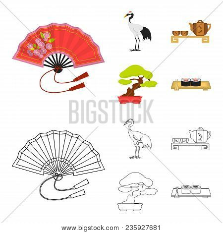 Fan, Red Crown Crane, Tea Ceremony, Bonsai.japan Set Collection Icons In Cartoon, Outline Style Vect
