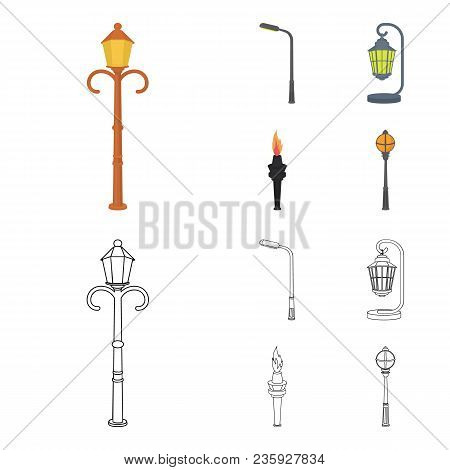 Lamppost In Retro Style, Modern Lantern, Torch And Other Types Of Streetlights. Lamppost Set Collect
