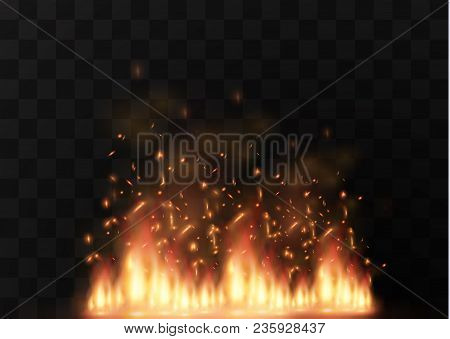 Vector Realistic Fire Transparent Special Effect Element. A Hot Flame Is Bursting. Campfire.heat Ove
