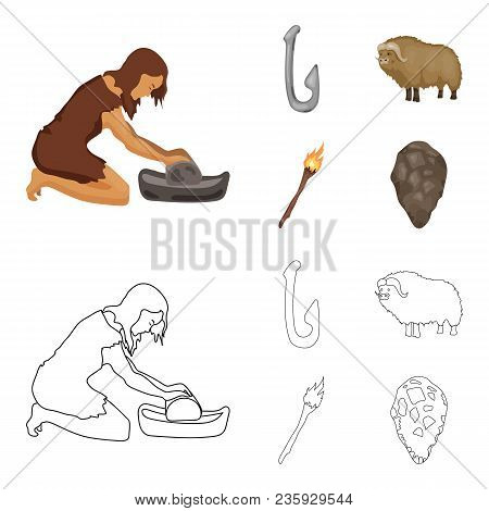 Cattle, Catch, Hook, Fishing .stone Age Set Collection Icons In Cartoon, Outline Style Vector Symbol