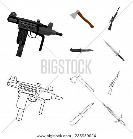 Ax, Automatic, Sniper Rifle, Combat Knife. Weapons Set Collection Icons In Cartoon, Outline Style Ve
