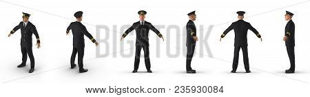 Passenger Plane Pilot Renders Set From Different Angles On A White Background. 3d Illustration